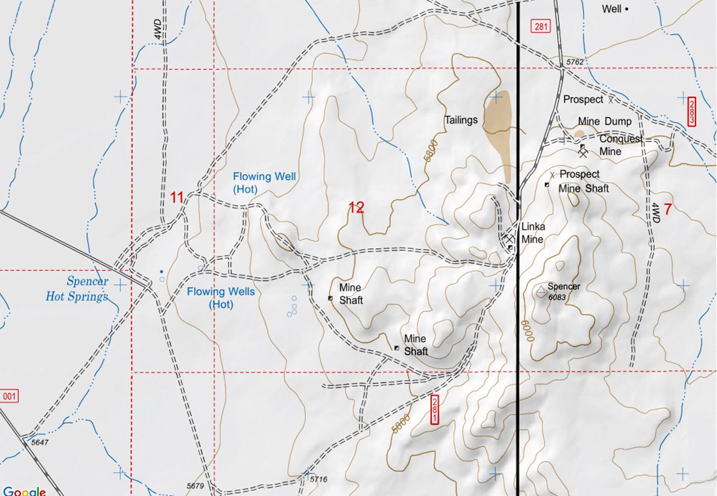 Spencer Hot Springs and Linka Mine Topo Map